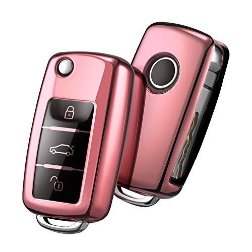 OATSBASF Autoschlüssel Hülle VW,VW Golf Schlüsselbox,Schlüsselhülle Cover für vw Polo Passat Skoda Seat 3-Tasten(Roségold)[Verpackung:MEHRWEG]
