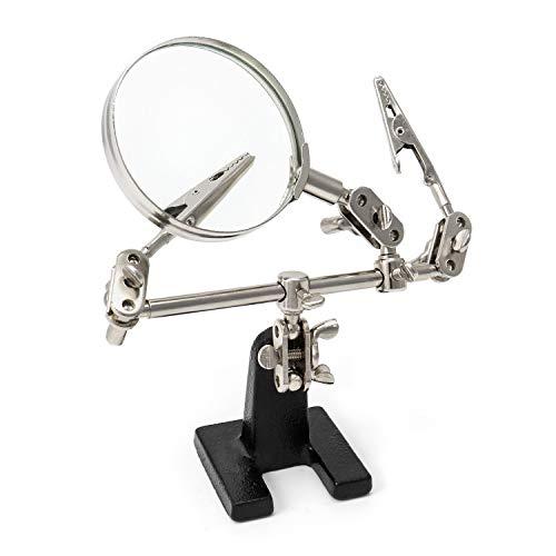QWORK Dritte Hand Lupe mit Klemmen , verstellbare 5-fache Vergrößerung, entworfen zum Löten, Basteln und Inspektion von Mikroobjekten