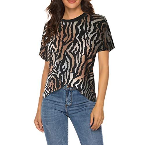 Camisetas de cuello redondo para mujer Tops con estampado de leopardo ligero camisetas informales de camuflaje camisetas con estampado de cebra camisetas de manga corta de verano ultrafinas para mujer