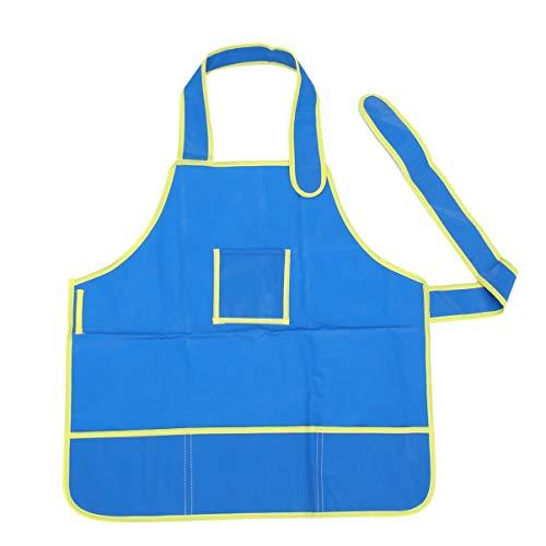 Kunstkittel für Kinder Künstlerschürze mit Taschen Verstellbare Kunstschürze Kinderkittel zum Malen Blau