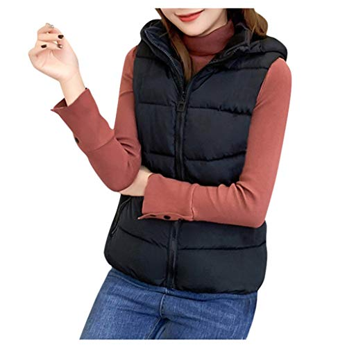 QIQIU Womens Warm Effen Capuchon 5 Kleuren Rits Katoen Gecapitonneerde Warm Mode Plus Size Jas Korte Vest Bovenkleding