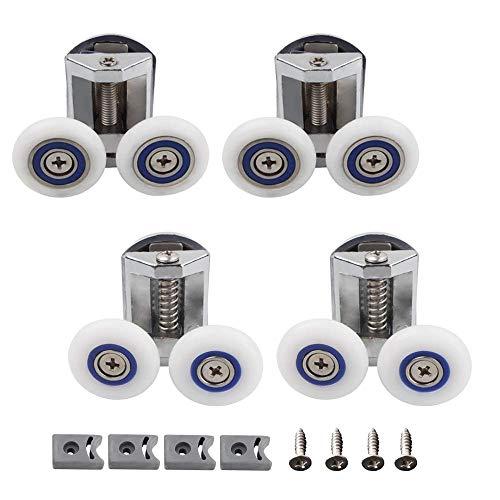 Feliciay Set mit 4 Rollen für Duschkabinentür, 26 mm, Zinklegierung, Duschtür-Befestigungsrollen, Badezimmer-Ersatz-Set (2 oben + 2 unten)