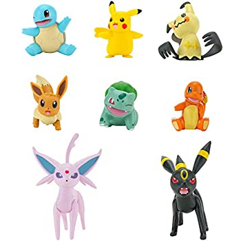 Pokémon Battle Figure 8-Pack - Features Charmander Bulbasaur Squirtle Mimikyu Pikachu Eevee Umbreon Espeon - Perfect for Any Trainer