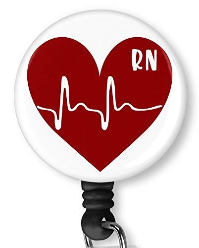 RN Nurse with Heart Retractable Badge Reel with Alligator Clip,Name Nurse ID Card Badge Holder Reel, Decorative Custom Badge Holder