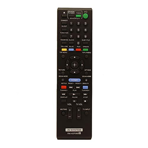 Blu-Ray Disc Player/AV Home Theater Replaced Remote Control RM-ADP069 Fit for Sony HBD-E580 BDV-N790W HB-DE3100 RM-ADP072 BDV-T58 BDV-T57 HBD-T79 HBD-E280 BDV-E3100 HBD-N790W HBD-T57 DVP-SR210P