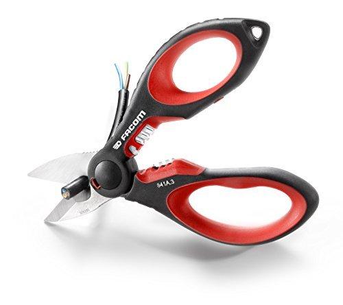 Facom 841A.3 Tijera bi-material, gran esfuerzo, Con hoja de acero reforzado, Rojo y negro