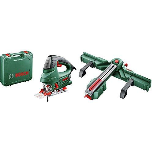Bosch PST 900 PEL - Sierra de calar (620 W, en maletín) + Bosch 0.603.B04.000 Estación serrado y Cortador de baldosas, Verde