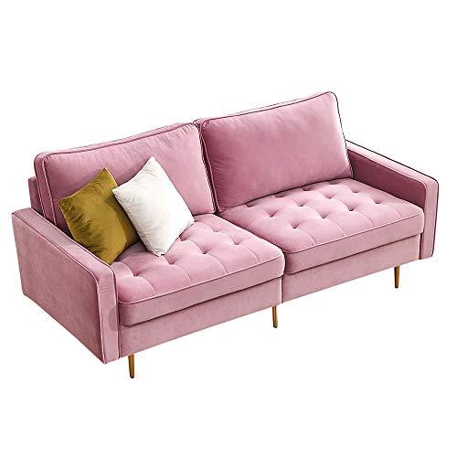HOMODA Sofa 3 Sitzer, Samt, Modern Couch mit Holzgestell und Metallfüße Polstersofa für Wohnzimmer Wohnung Jugendzimmer, 180 x 80 x 80 cm