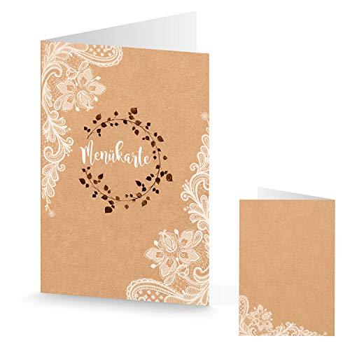 Logboek-uitgeverij uitnodigingskaarten + enveloppen, menukaarten, kraftpapier, bruin, kant, boho, vintage stijl, kaart bruiloft 10 Stück Menukaarten