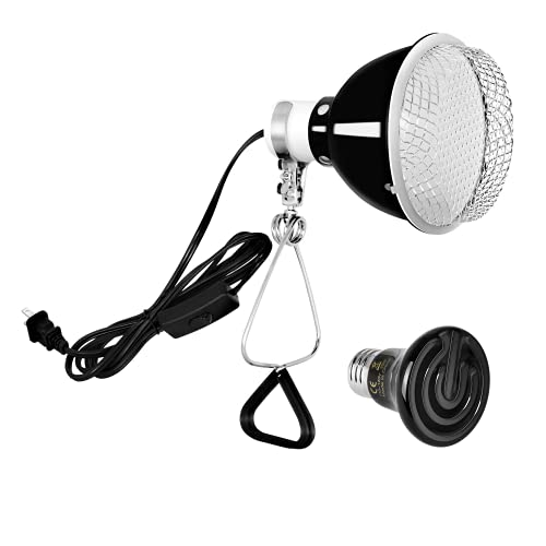 Simple Deluxe Reptile Heat Bulb Ceramic Heat Emitter Mini 25W No Light Emitting with 60W Reptile Dome Light Clamp Lamp Fixture with 5.5 Inch Aluminum Reflector, Metal Guard for Amphibian Pet Snake