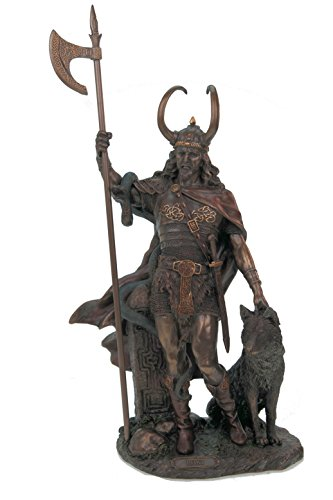 Loki Escultura de dios nórdico del mal con fenris Wolf Bronce Veronese Figura Odin