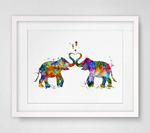 Valentine's Gift Art Print Elephant Watercolor Valentine Gift Painting Elephant Love Art Paper Poster Watercolor Elephant Wall Decor 8x10 inch Unframed