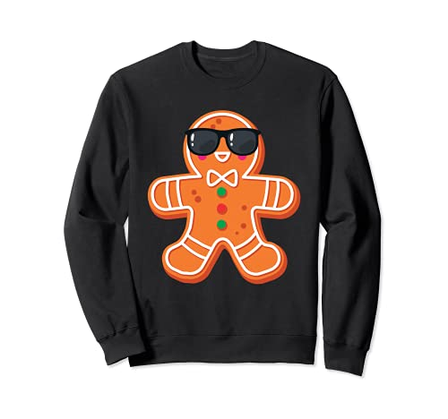 Gran hombre de jengibre con gafas de sol galleta de Navidad Sudadera