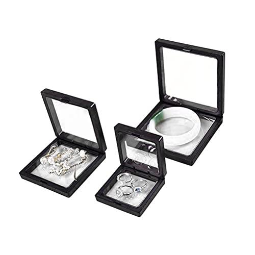 Breale 3 Stück 3D schwimmender Rahmen Display Schmuck Aufbewahrungsbox Brosche Münze Edelsteine Halter Show Fall PE Folie staubdicht Münzchip Fall für Ausstellung