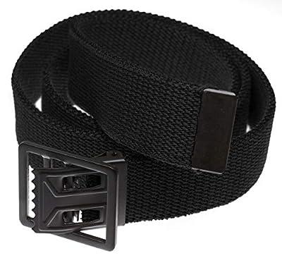 """Jackster Military Grade Web Belt Black Open Face Buckle 54"""" Long Adjustable (Black)"""