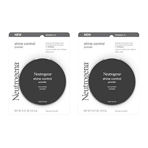 Neutrogena Shine Control Mattifying Face Powder for Oily or Combination Skin, Lightweight & Oil-Absorbing Powder with Rice Protein, Compact with Application Sponge, Invisible 10,.37 oz.