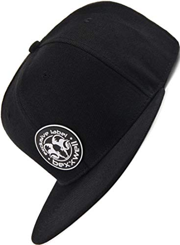 Bexxwell Snapback Cap schwarz mit Gummi-Patch (optimale Passform, Kappe, Black, Gumpatch, Unisex)