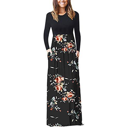Malloom-Bekleidung Frauen Casual Sleeve O Neck Print Maxi Tank Langes Kleid o- Langarm Ärmel Bedrucktes Kleid