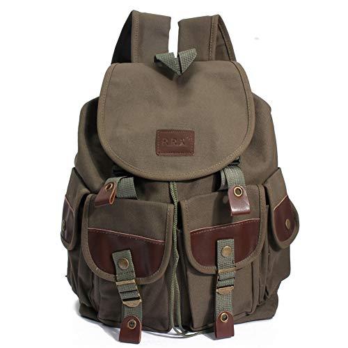 Mochilas de Lona, Popoti Mochila Escolar Bolsos Vintage Backpack Laptop Bag Daypack Unisex Rucksack Gran School Bag para Portátil Viaja Senderismo Bolsa (Verde, 29 * 13 * 37cm)
