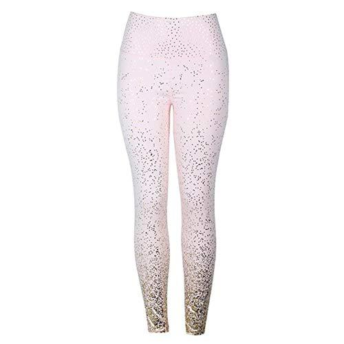 HPPLStamping Yoga broek Dames Gym Slim Fit sportlegging Gouden print Hoge taille Push-up Fitnesslegging Sportbroek, roze, L