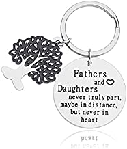 Father's Day Gift Keychain from Daughter Engraved Fathers and Daughters Never Truly Part, Maybe in Distance, But Never in Heart Stainless Steel Key Ring for Men Birthday