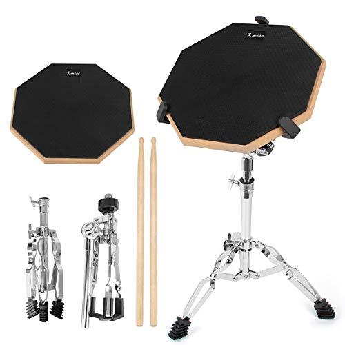 Kmise ドラム練習パッド トレーニング用 スティック付き ラバー製 ブラック 静音・高反発 12インチ (練習パッド・スタンド)