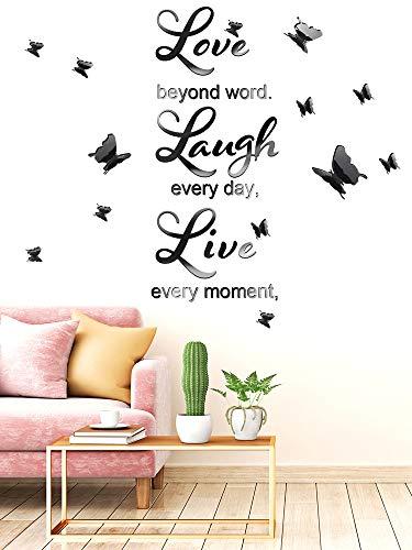 DIY Specchio Love Every Moment, Live Beyond Words, Laugh Every Day Adesivi Murali con 12 Pezzi Adesivi Murali Rimovibili con Farfalla 3D per Decal Domestica, 3 Lettere L e 2 Lavagne (Nero)