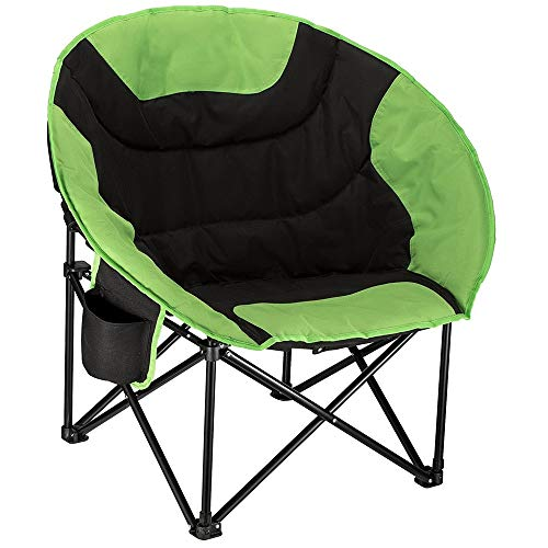 HWZQHJY Camping Folding Round Chair Padded Seat Heavy Duty Steel Frame with Cup Holder and Back Pocket for Hiking, Beach, Fishing, Outdoor (Color : Green, Size : 20 Pack)