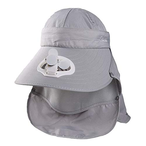 Oulian Sommer Frauen USB Aufladen Fan Visier Kappe mit Gesicht Hals Abdeckung Wrap Net Baseballkappe mit Ventilator für Outdoor-Camping Reisen - Grau