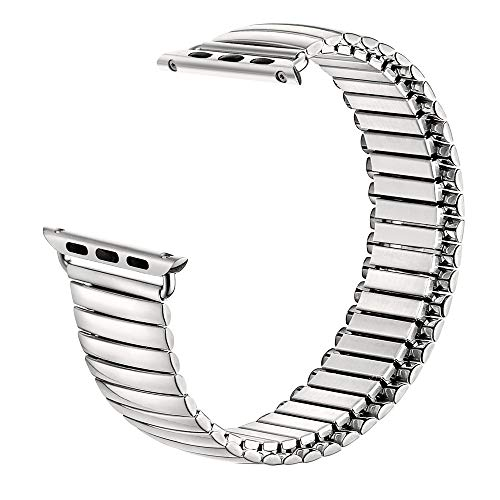 SEURE Compatible for Apple Watch Bands Spring Metal Elastic Steel Bands Retractable Bands 38mm 40mm 42mm 44mm Apple Watch Bands Stainless Steel Watch Bands Fit for Apple Watch SE Series 6 5 4 3 2 1