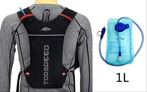 Generic Brands Sac à dos multifonction pour course à pied 5 L + 1 L Sac à dos étanche léger et pliable Noir et poche à eau.