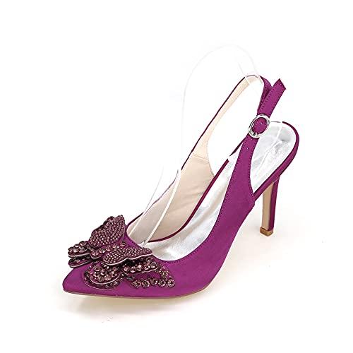 Sandalias Destalonadas Zapatos De Boda para Mujer Zapatos De Novia Cómodos De Satén Zapatos De Novia De Diamantes De Imitación para Fiesta De Boda Tacones Altos,Púrpura,43 EU