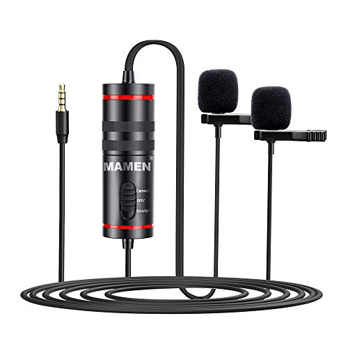 Docooler 3.5mm Lavalier Microphone with Dual Mics Omni-directional Sound Pickup 6.35mm Audio Adapter for Smartphones Cameras Recording Pen for News Interview Video Recording Conference Speech Vlogging