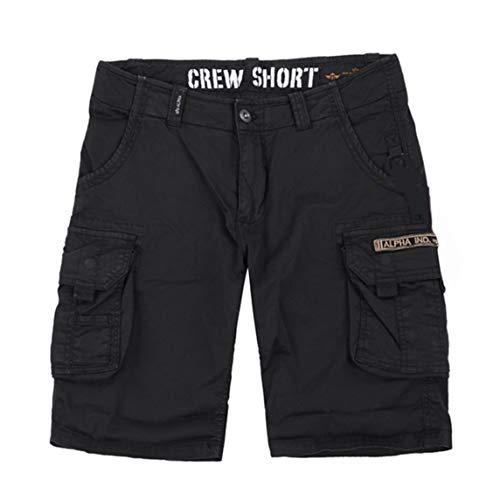 Alpha Industries Crew Short Bequeme Kurze Cargo Hose mit Beintaschen und Elastananteil, Farbe:Black, Größe:31