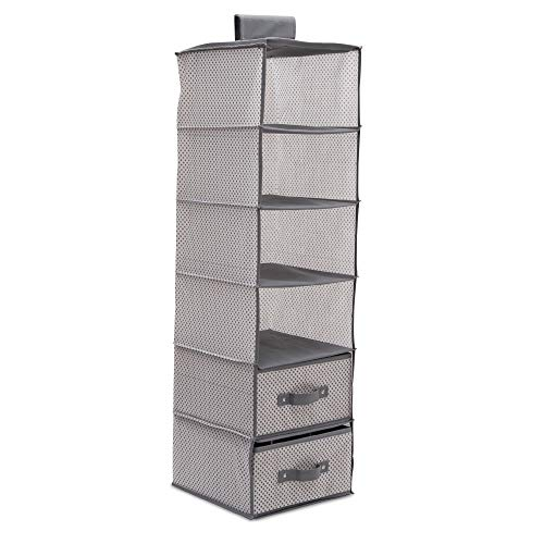 Delta Children 6 Shelf Hanging Wall Storage with 2 Drawers - Easy Storage/Organization Solution- Holds Sweaters, Shirts, Pants, Accessories & More - Movable Drawers Allow for Customization, Grey