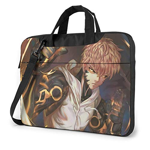 15.6″Lightweight Laptop Notebook Shoulder Backpack Bag One Punch Man Genos Waterproof PC Briefcase Messenger with Strap