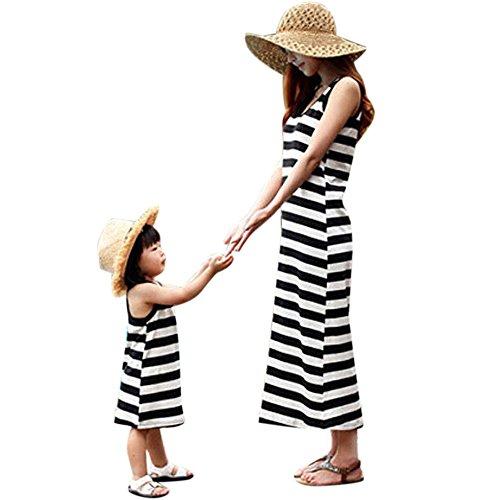 Familie Bijpassende Kleding Streep Katoen Moeder Dochter Jurken Vintage Retro Meisjes Kids Dames Zonnejurk Boho Tuniek Maxi Jurk Casual Verjaardag Prinses Feestjurk
