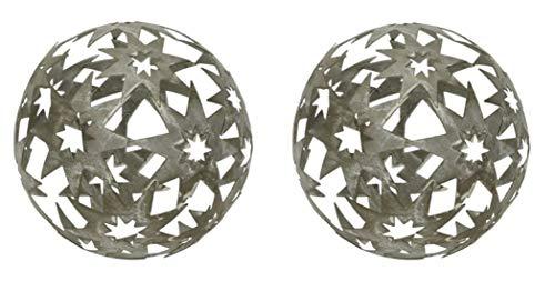 dekorative Stern-Kugel Deko-Kugel Garten-Kugel Metall hellgrau 14 cm Preis für 2 Stück