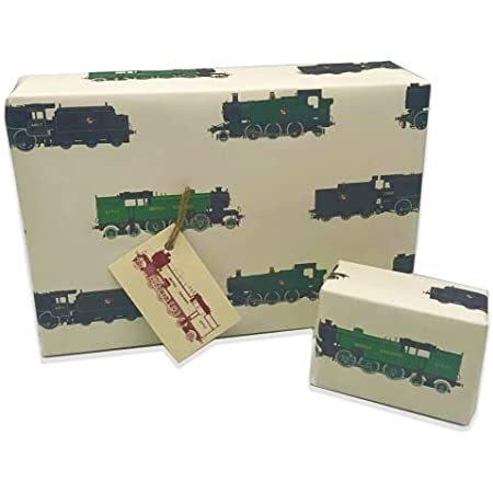 Train Wrapping Paper. 4 Sheets of Stylish Luxury Train Gift Wrap, ideal for any Locomotive Lover or that loves Steam Trains, Fab Birthday Train Wrapping Paper