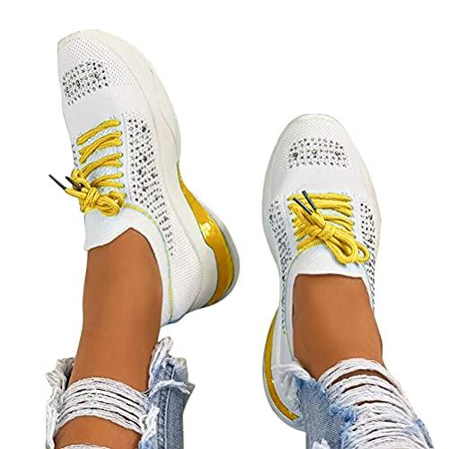 Shownicer Damen Sneaker Flach Schuhe Freizeit Schnürer Sportschuhe Outdoor Freizeit Plattform Schuhe Sommerschuhe Turnschuhe Laufschuhe Sneaker Gelb 38 EU