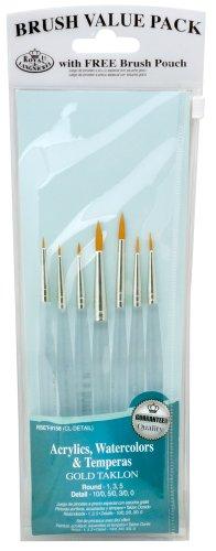 Royal & Langnickel Detail - Juego de pinceles de fibra de taklon (7 unidades, punta redonda)