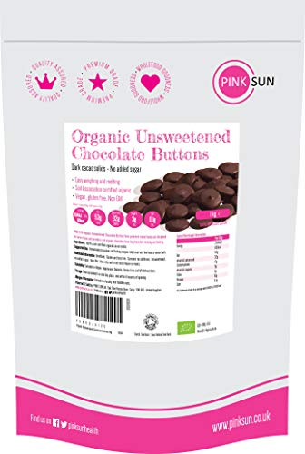 PINK SUN Organic Unsweetened Chocolate Buttons 1kg (or 2kg 3kg) 100% Pure Cacao Solids Sugar Free Vegan Cocoa Mass