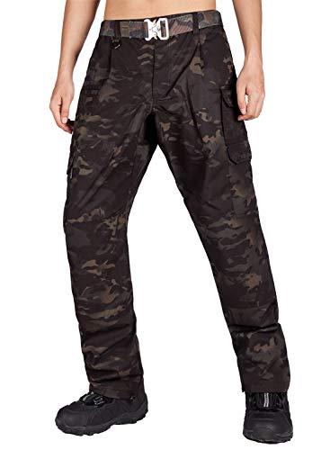 ITALYMORN Pantaloni Cargo Uomo da Lavoro Leggeri Tattico per Uomo Sportivi Combat Pants(32W x 32L, Nero Camuffamento 19)