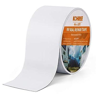 Kohree RV Sealant Tape, 4 Inch x 50 Foot RV White Roof Seal Tape UV & Weatherproof Sealant Roofing Tape for RV Repair, Window, Boat Sealing, Truck Stop Camper Roof Leaks