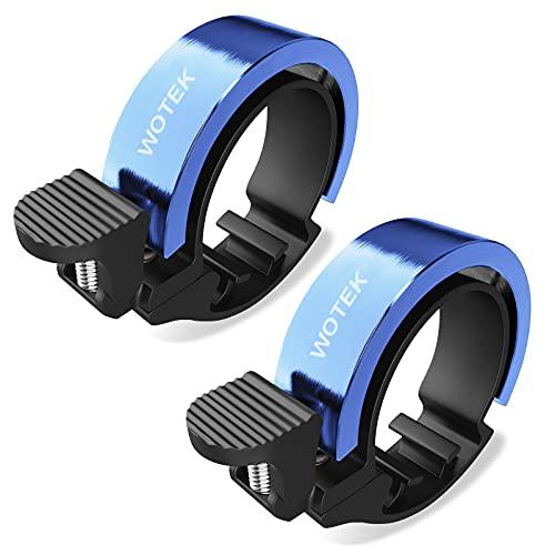 WOTEK Fahrradklingel Klingel Fahrrad 2 Stück Fahrradglocke Blau Fahradklingeln Innovative O Design Aluminium Fahrradklingel Fahrrad Klingel Laut für MTB Mountainbike Rennrad für 22.2-31.8mm Lenker
