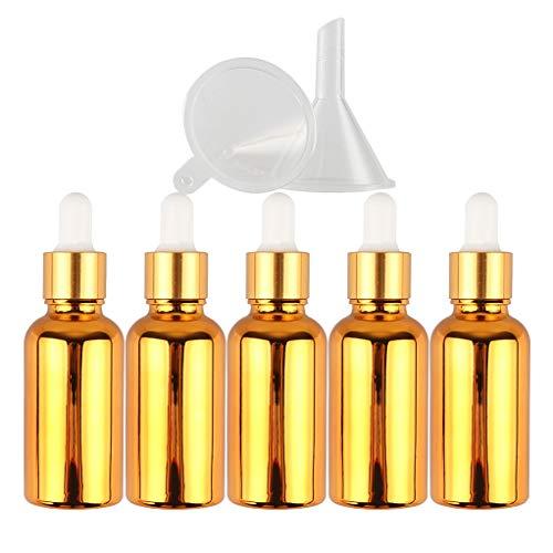 5 Piezas Frasco Gotero De Vidrio Galvanoplastia Vacías De 30 ml, Botellas Pequeñas de Muestra de Oro Recargables Botellas de Subcontenedor Para Aceites Esenciales Aromaterapia Laboratorios +Embudo