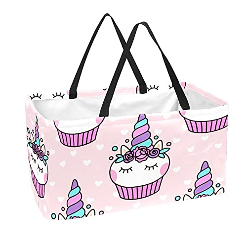 Reusable Grocery Tote Bag, Large Shopping Basket, 50L Storage Bag Cute Unicorn Cupcake Pattern