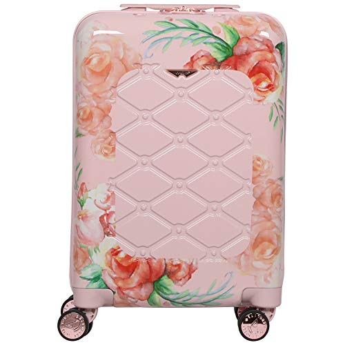 Aerolite 55x35x20cm Polycarbonate Hard Shell 4 Wheel Travel Carry On Hand Cabin Luggage Suitcase, White Pink Rose Floral