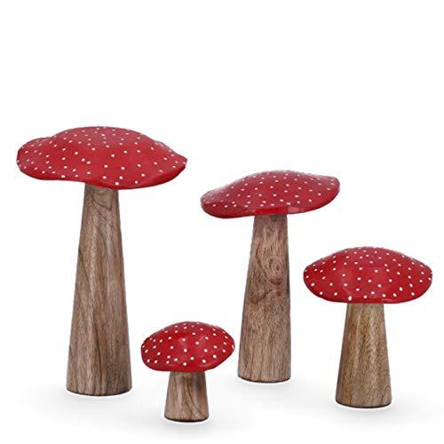 Shophaus24 Holz Deko Pilze Fliegenpilz Gruppe. 4 Größen, 4 Stück