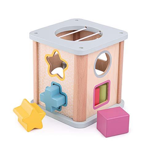 Bigjigs Toys Wooden Shape Sorter | Wooden Toys | Baby Shape Sorter| Wooden Toys for 1 Year Olds | Baby Toys | FSC Certified | Handmade Wooden Toys